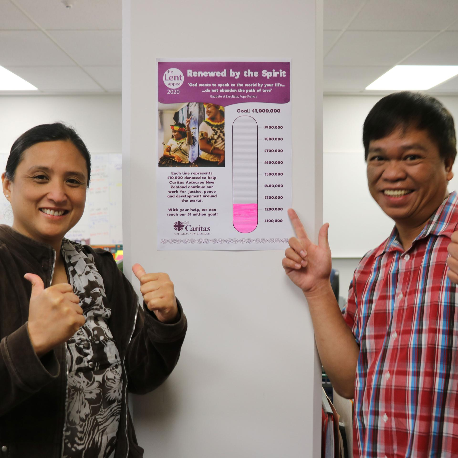 Patricia and Roman display the Lent Appeal 2020 tracker