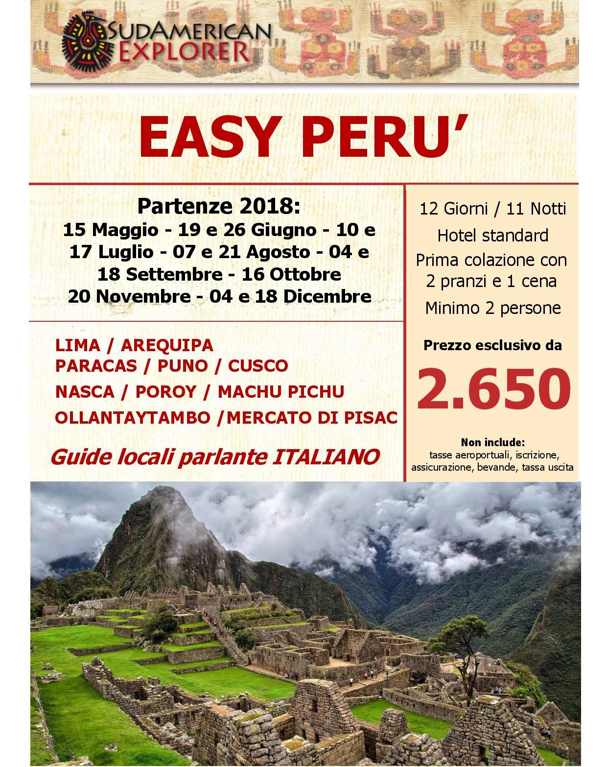 Easy Perù - partenze del 2018 con guida parlante italiano