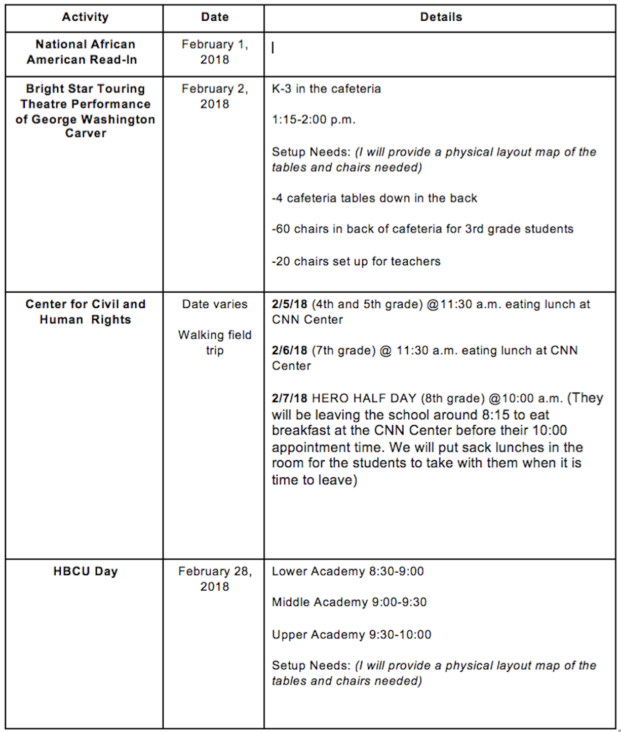 Weekly Staff Bulletin - 2.5.18