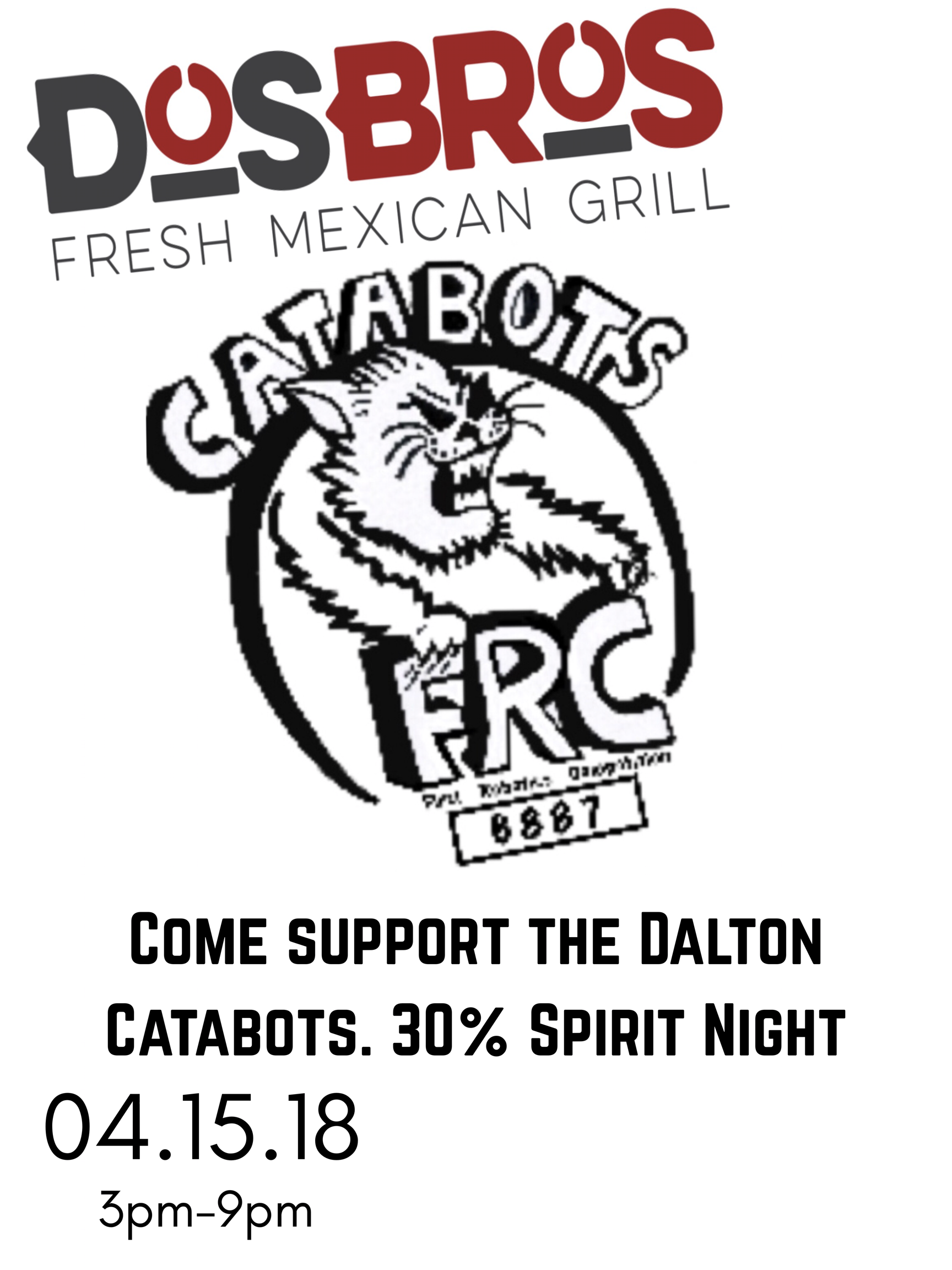 Dos Bros Spirit Night April 15 from 3-9 p.m.