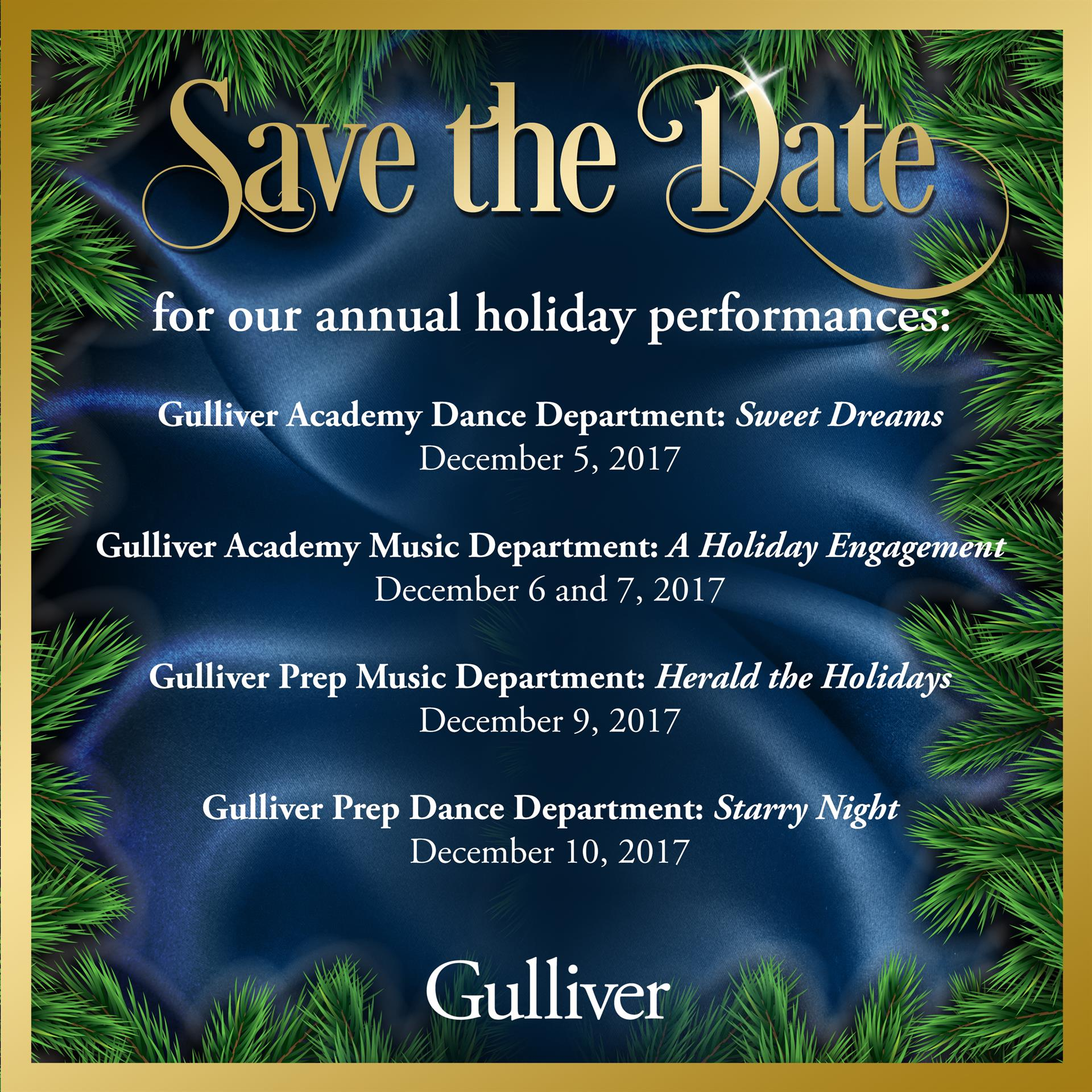 Save the date for 2017 holiday performances