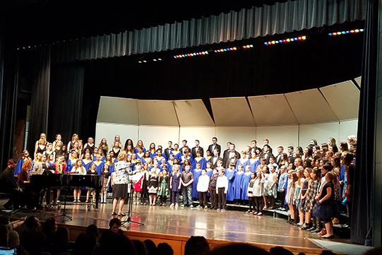 entire district chorus on stage