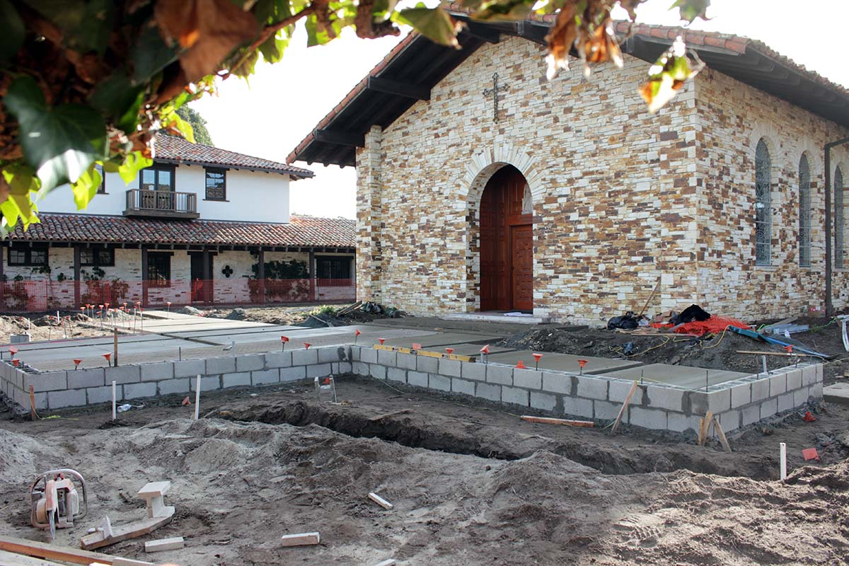 Construction in front of chapel