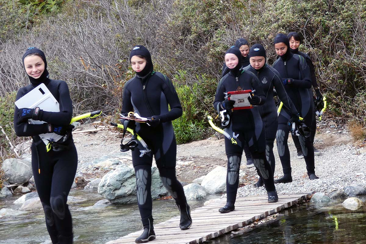 Students walk in wetsuits
