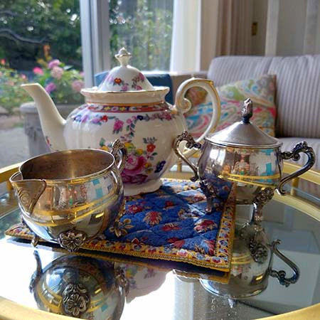 Teapot with creamer and sugar bowl