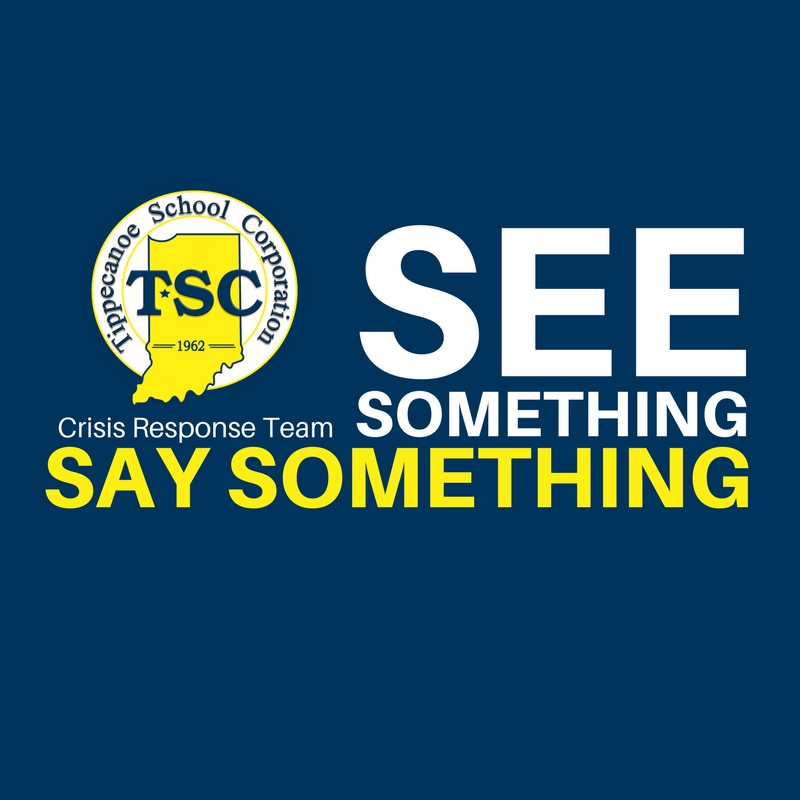 """Navy Blue square.  TSC Logo centered vertically on left side. (underneath the logo in small white letters is written Crisis Response Team)  Next to it in big white letters SEE Underneath """"Something""""  Underneath something are these words in yellow """"Say Something"""". Represents the concept of """"See Something; Say Something"""" as a safety measure"""