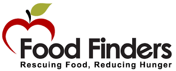 """Food Finders logo with Food Finders in black with """"Rescuing Food, Reducing Hunger"""" underneath with an apple above."""