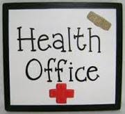 "Black frame. Inside the words ""Health Office"" written with Health on top and Office underneath. Red Cross underneath which is the symbol for Red Cross/Health. In top right corner of the interior of the frame is a band-aid."