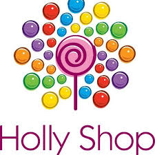 Word Holly Shop written across the bottom of the square logo in red. Above it is a pink lollipop with a red swirl.  Surrounding the lollipop are many different sizes and colors of circles - green, orange, yellow, red, purpose, blue that complete the logo.