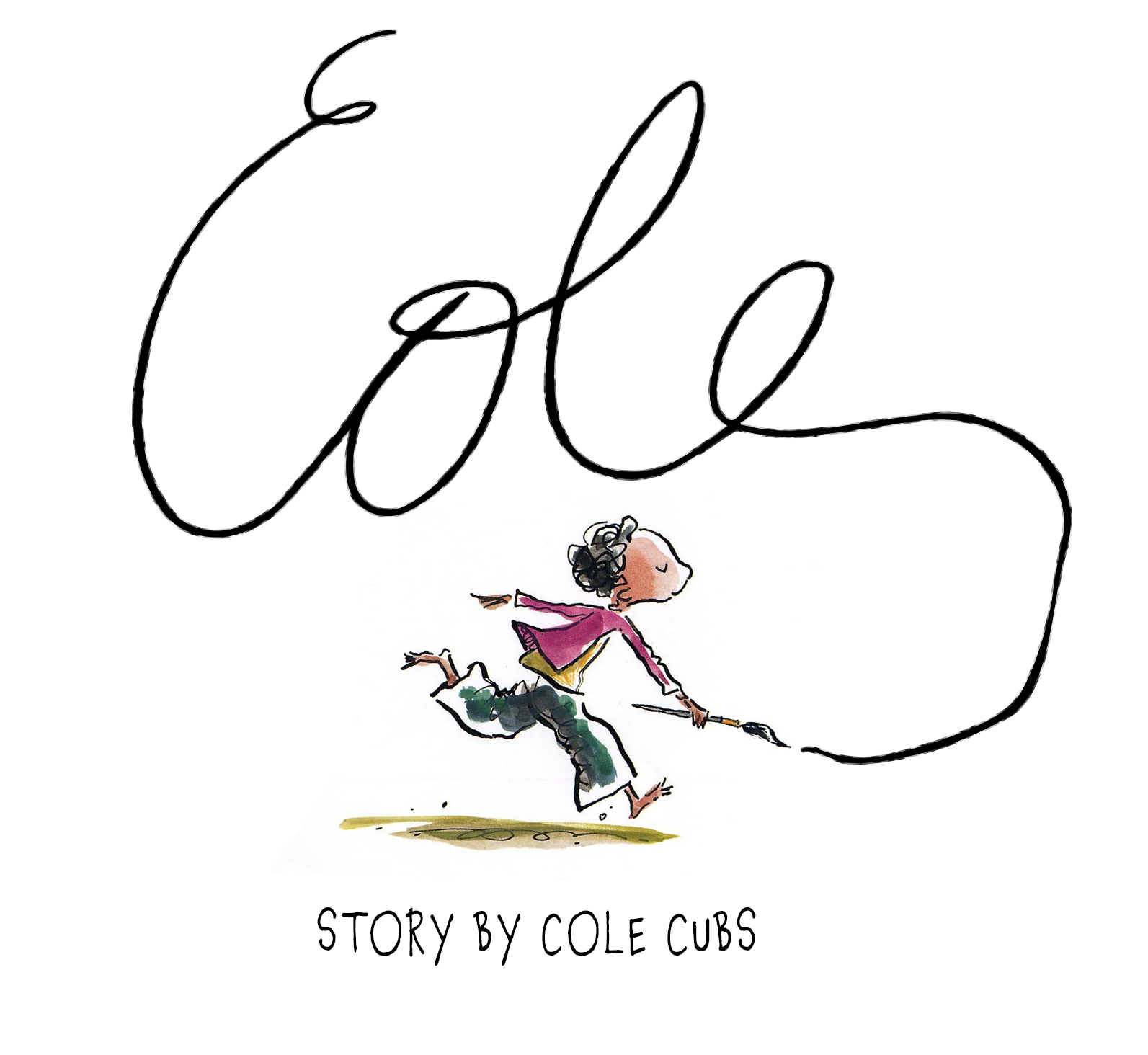 "Image of the theme for Cole for 2017-2018 based on the picture book ISH by Peter Reynolds. It has a cartoon boy in blue jeans and red shirt running with a paint brush. As if writing on the wall, above him in cursive letters is the word Cole. The letter e extends out and continues to his brush.  Underneath is written the words ""Story by Cole Cubs"""
