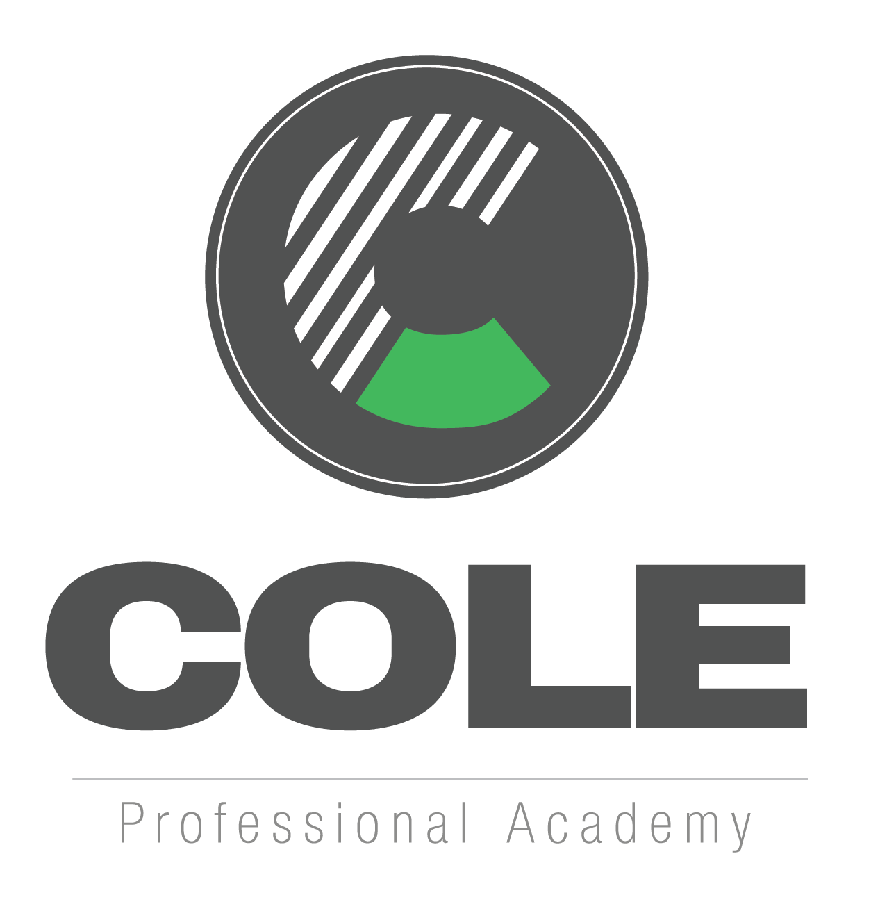 Symbol for Cole Professional Academy. The symbol is a black solid circle. Inside the circle is a Capital C that has the bottom fourth green. The remaining portion of the C is white with black strips.  Underneath in black is the word COLE in capital and bold face. Underneath this is a line and written underneath in a small font are the words Professional Academy