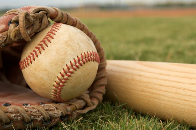 Baseball, mitt, and bat