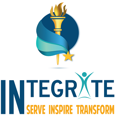 Image for TSCINtegrate. Image contains a gold torch surrounded by a dark and light blue swoosh. At the bottom of the swoosh is a small gold star. Underneath is the word INtegrate with the IN capitalized and the A replaced with a figure of a person standing with arms and legs out.  At the bottom of the graphic written in yellow are the words: Serve Inspire Transform