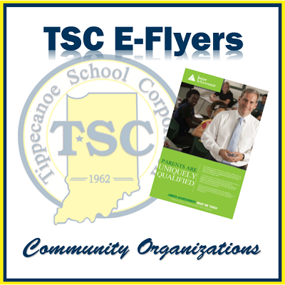 Image of  TSC E-Flyers. Square Black Box. Inside in light color is the official TSC logo. Offset to the right at an angle is a flyer in green with an image of a man in a white shirt and gray tie. Underneath in cursive letters is the word Community Organizations.