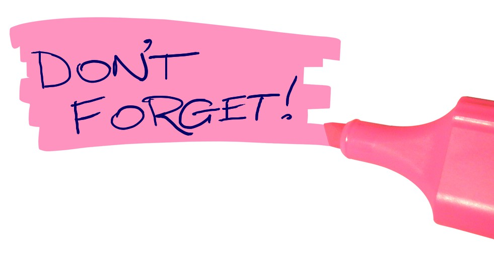 The words Don't Forget are written in navy blue and highlighted with pink