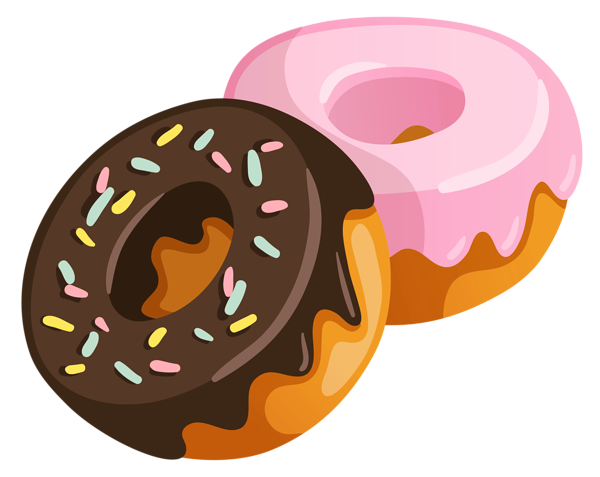 two donuts- one with pink icing and one with brown icing and sprinkles