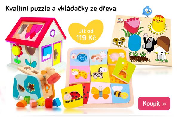 Dřevěné puzzle a vkládačky