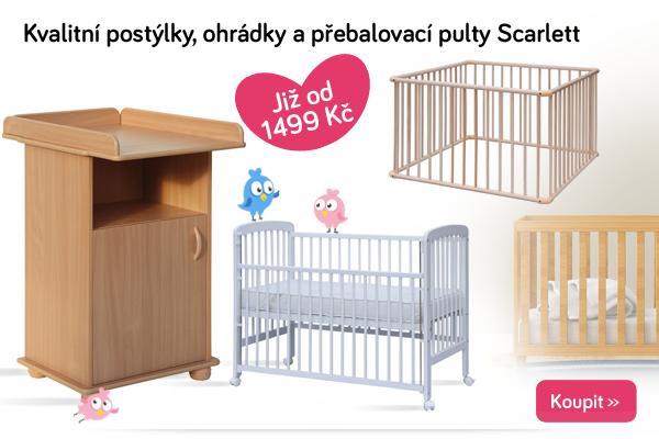 Dětské postýlky, ohrádky a přebalovací pulty Scarlett