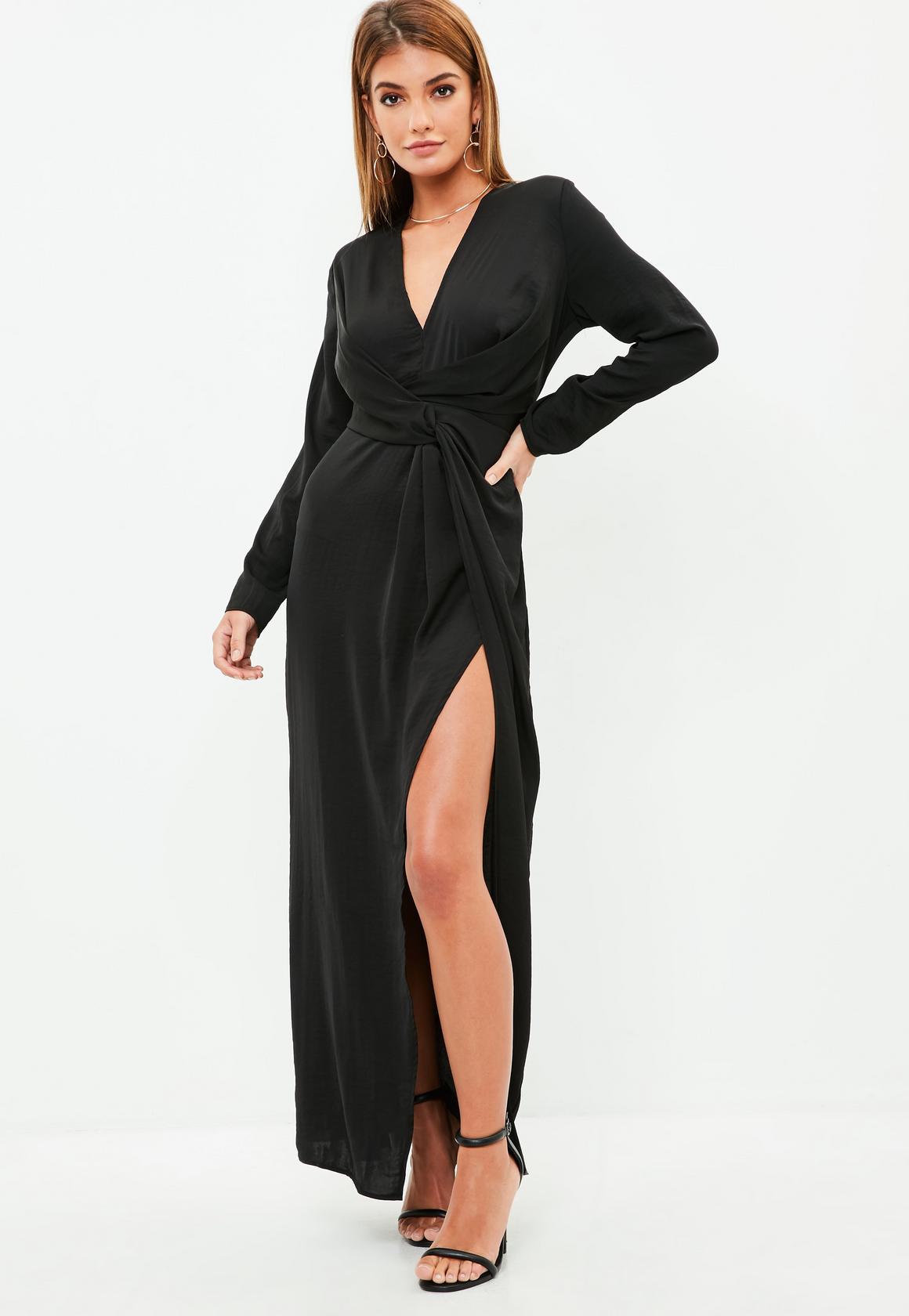 Shop online for Black plunge wrap front maxi dress
