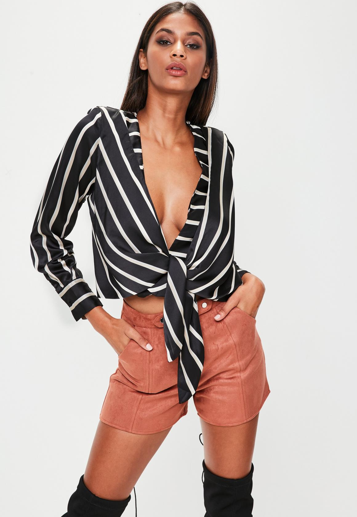 Shop online for Black Striped Tie Front Blouse