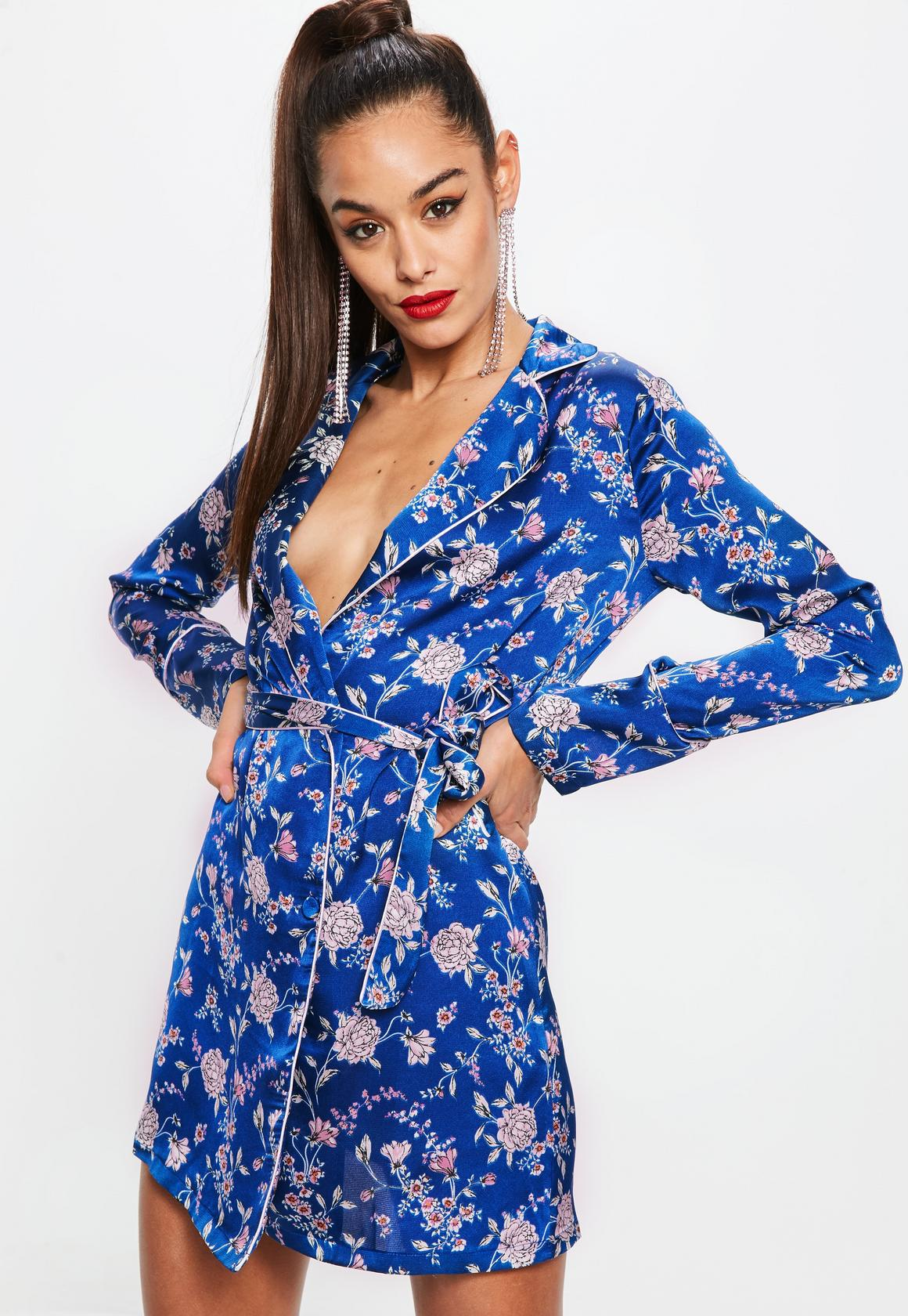 Shop online for Blue Satin Floral Belted Wrap V Neck Shift Dress