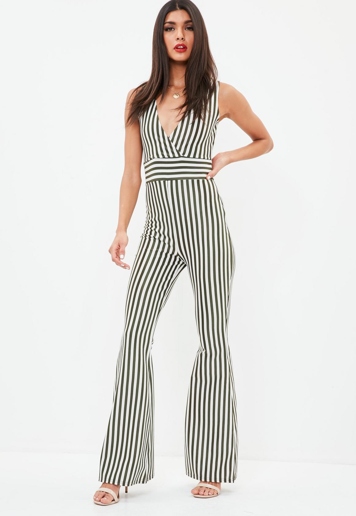 Shop online for Khaki Sleeveless Stripe Kick Flare Jumpsuit