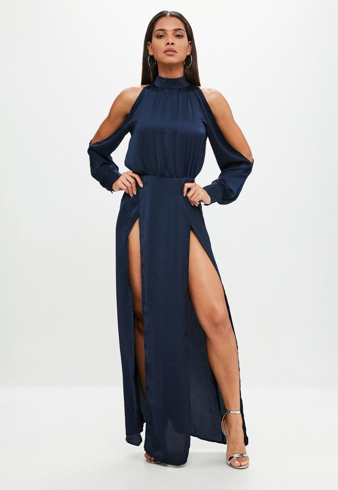 Shop online for Navy Split Front Maxi Dress