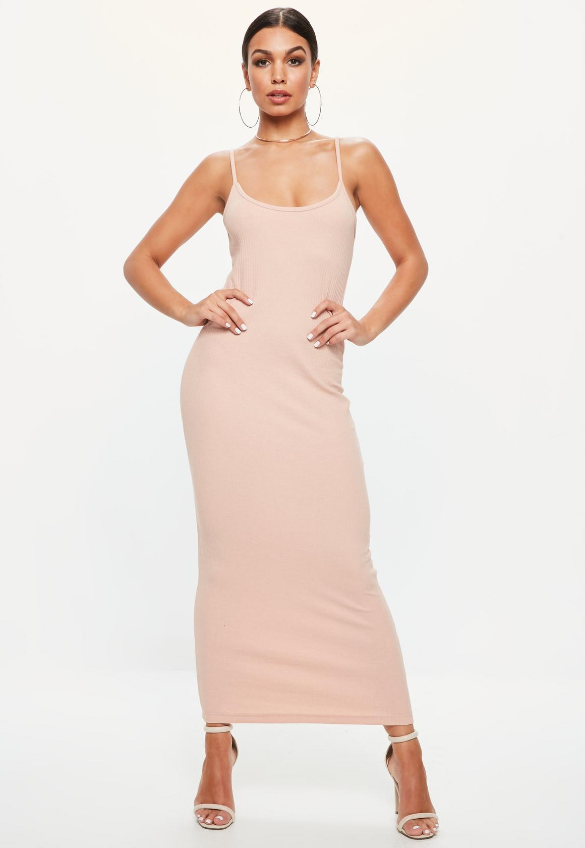 Shop online for Pink Strappy Ribbed Bodycon Midi Dress